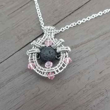 Wire Wrapped Lava Stone Aromatherapy Diffuser Necklace