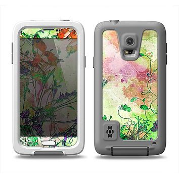 The Green Bright Watercolor Floral Samsung Galaxy S5 LifeProof Fre Case Skin Set