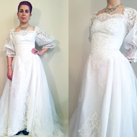 80s Wedding Dress Vintage Wedding Dress 80s Victorian Princess Wedding Dress Size 4 Long Train Lace 80s Bridal Gown Vintage Bridal Gown