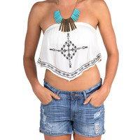 Tribal Stitched Strapless Cropped Top - Cream