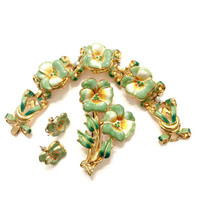 Coro Green & Cream Enamel Pansy Demi, Bracelet Brooch and Earrings, Green Rhinestone, Hard to Find Coro, Vintage Gift Idea, Designer Signed