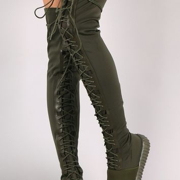 Elastane Lace Up Over-The-Knee Sneaker Boots