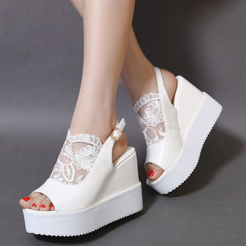 Summer Design Wedge Lace Hollow Out Sandals = 4804957188