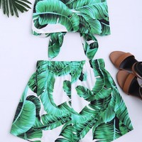 Leaves Print Strapless Top and Shorts Set