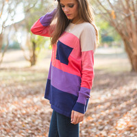 Colorblock Pocket Sweater, Navy/Purple