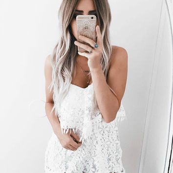 Fringe All Over Romper - White