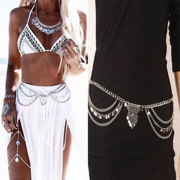 Gypsy TurkishMetal Dangle Multilayer Sequins Tassel Belly Chain Boho Bohemian Shimmy Belt Dance Show Waist Chain