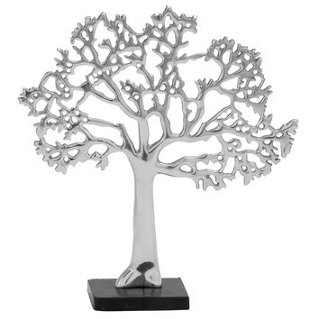 Exquisite Aluminum Tree Decor In Rich Silver Finish And Black Base