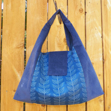 Bountiful Blue Leaf and Vine Shoulder Bag Slouchy Hobo  with Magnetic Snap Closure