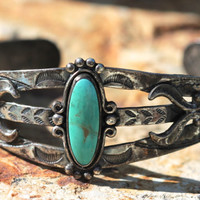 Turquoise, Stacking, Bracelet, Navajo, Sterling Silver, Cuff, Boho, Indian Jewelry