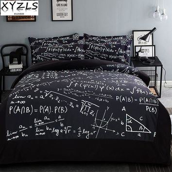 XYZLS Brief Geometric Black US/AU/UK Queen Bedding Set Math Adults Modern Bedclothes Polyester Home Twin Full King Bedding Kit
