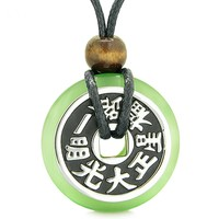 Large Double Lucky Reversible Fortune Coin Donut Neon Green Simulated Cats Eye Feng Shui Pendant Necklace