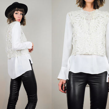 CROCHET sequined 60's ivory BEADED floral Cropped Top cocktail party paisley Scalloped lace small