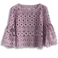 Circle of Love Crochet Top in Purple