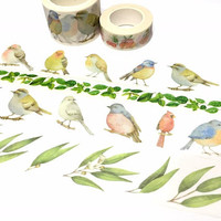 big birds washi tape 8M x 3cm blue bird budgie lovebird canary amazon parrots winter bird wide tape bird drawing fat bird wild bird sticker