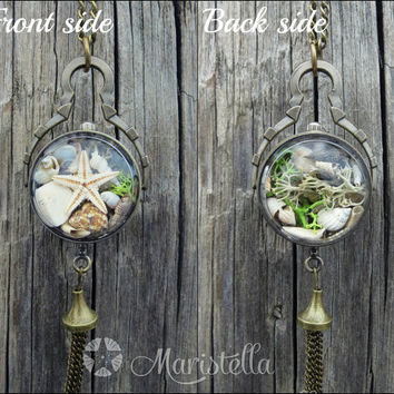 3D UNDER THE SEA View of Real seashells, Real corals, Real starfish and Real moss. Bronze Starfish 3D Glass Globe Mermaid Necklace.