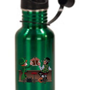 Hat Shark Irish Drinking Charm and Basketball Buddies 3D Color Printed 17 oz Stainless Steel Water Bottle Green