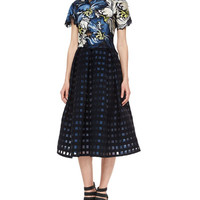 Emiko Embroidered Matelasse Crop Top & Ina Checked File Coupe Midi Skirt