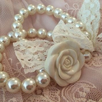 Pearls and Rose Bracelet