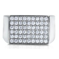Stainless Steel Micro Pave Cubic Zirconia CZ Men's Bold Stamp Ring #r452