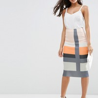 ASOS Stripe Scuba Pencil Skirt with Notch Hem at asos.com