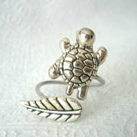 silver turtle ring with a leaf, wrap open style