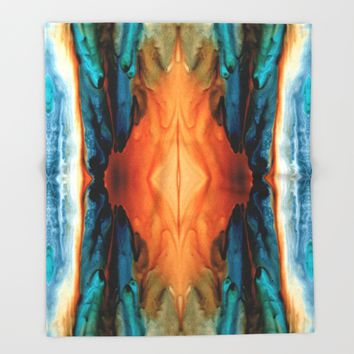 The Great Spirit - Abstract Art By Sharon Cummings Throw Blanket by Sharon Cummings   Society6