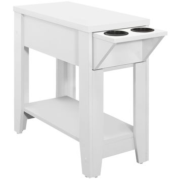 "Accent Table - 24""H / White With A Glass Holder"