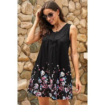Black Crew Neck A-Line Daily Floral Dress