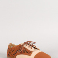 Women's Dollhouse Two-Tone Perforated Nubuck Oxford Flat