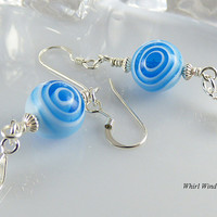 Blue Handmade Dangle Beaded Earrings, Sterling Silver, Drop Design on French Ear Wire, Original, Czech Glass Beads,Summer Fashion,Great Gift