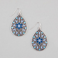 Full Tilt Floral Teardrop Earrings Silver One Size For Women 23475814001
