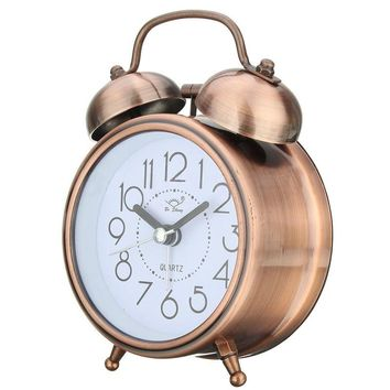 Vintage Retro Silent Pointer  Clocks Dual Bell Loud Alarm Clock Bedside Night Light Home Decors