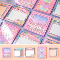 AM22 50 Pages /Pack Kawaii Computer Style Memo Pad Sticky Notes School Office Supply Student Stationery Notepad