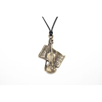 Violin with Notes Unisex Necklace with Rope
