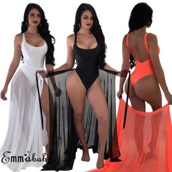 98057770278a5 Two-Pieces Set Women Solid Swimsuit Swimwear +Cover Up Sheer Bea