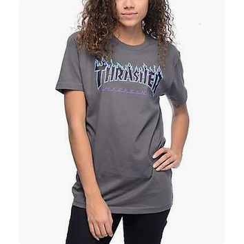 Thrasher Magazine Flame Personality T-shirt print short sleeve top