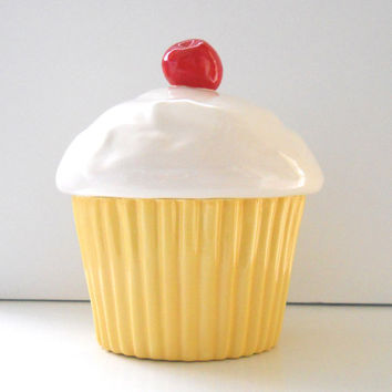 Ceramic Cupcake Cookie Jar with Cherry Buttercream Cake Lover Gift