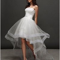 Ball Gown Strapless Asymmetrical Tulle Wedding Dress (2448983)