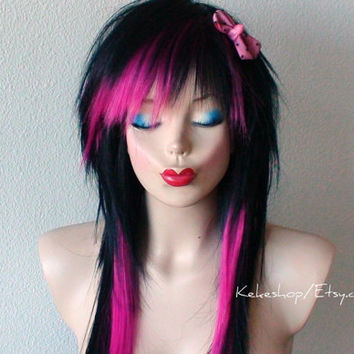 Spring Special // Scene hair. Black / Hot pink hairstyle. Black scene wig. Black  hair w/ Hot pink highlight wig. Emo hair. Emo wig.