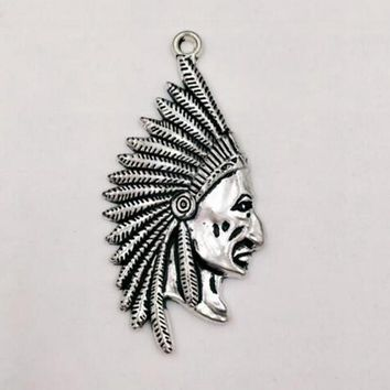 20pcs Indian Chief Head  Charm Pendants Indian chief Antique Silver for Necklace Bracelet Jewelry Making