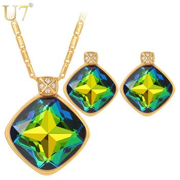 U7 Green Crystal Earrings And Charm Necklace Set For Women Gold Color Luxury Square Rhinestone Engagement Jewelry Sets S1001
