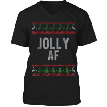 Cool Jolly AF Ugly Christmas Sweater Style Funny  Mens Printed V-Neck T
