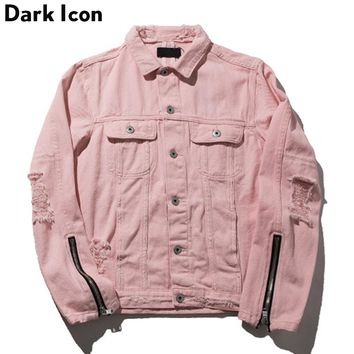 Zipper on Sleeve Destroyed Denim Jacket Men Autumn Turn-down Collar Hip Hop Jackets Pink Jackets Women