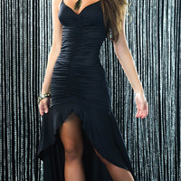 Sexy Pucker Gown, Long Black Gown, Long Red Gown