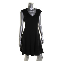 Nanette Lepore Womens Ponte Pleated Cocktail Dress