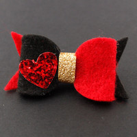 Queen of Hearts Hair Bow - Alice In Wonderland - Felt Hair Bow - Disney Inspired