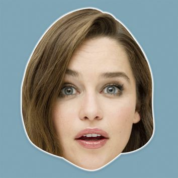 Surprised Emilia Clarke Mask - Perfect for Halloween, Costume Party Mask, Masquerades, Parties, Festivals, Concerts - Jumbo Size Waterproof Laminated Mask