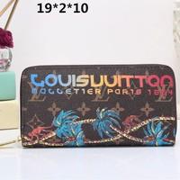 """Louis Vuitton"" Women Clutch Purse Fashion Coconut Tree Letter Pattern Print Long Section Zip Wallet"