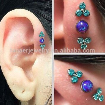 ac DCCKO2Q Hot sale!!! 16G stainless steel opal body piercing jewelry tragus/daith cartilage ear piercing helix piercing